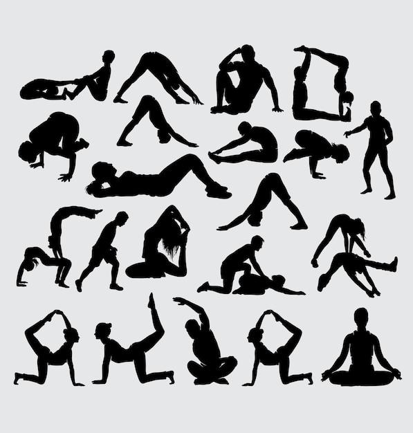 Aerobic yoga stretching und fitness sport silhouette Premium Vektoren