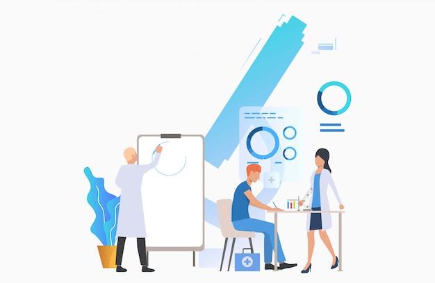 Ärzte, die diagramm zeichnen und mit rohren arbeiten Kostenlosen Vektoren