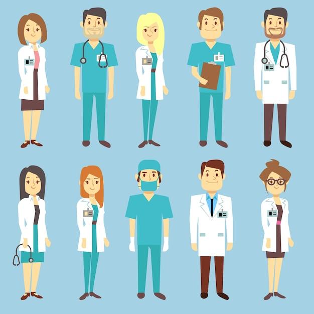 Ärzte krankenschwestern medizinische mitarbeiter menschen vektor zeichen in flachen stil. praktiker und chirurg in uni Premium Vektoren