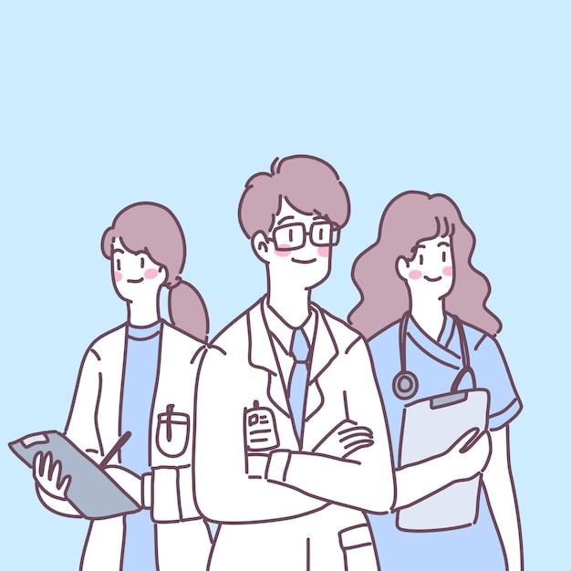 Ärzte, krankenschwestern und assistenten bereiten sich auf die behandlung von patienten vor. Kostenlosen Vektoren