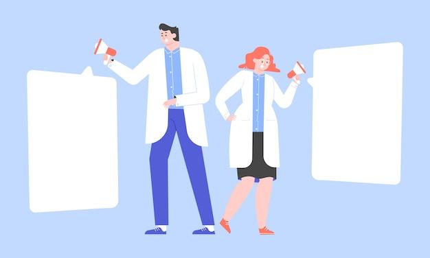 Ärzte mit megaphonen. ein mann und eine frau in weißen kitteln berichten über wichtige neuigkeiten. bewusstsein der bevölkerung für krankheiten, gesundheitsversorgung. flache illustration. Premium Vektoren