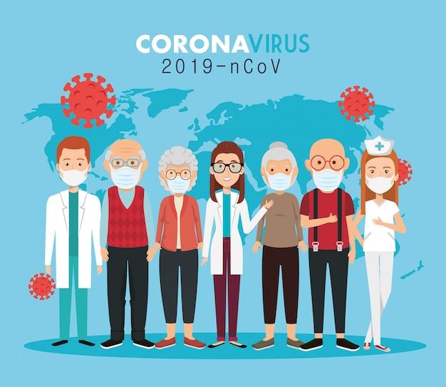 Ärzte und alte menschen, die gesichtsmasken gegen die covid19-pandemie verwenden Kostenlosen Vektoren