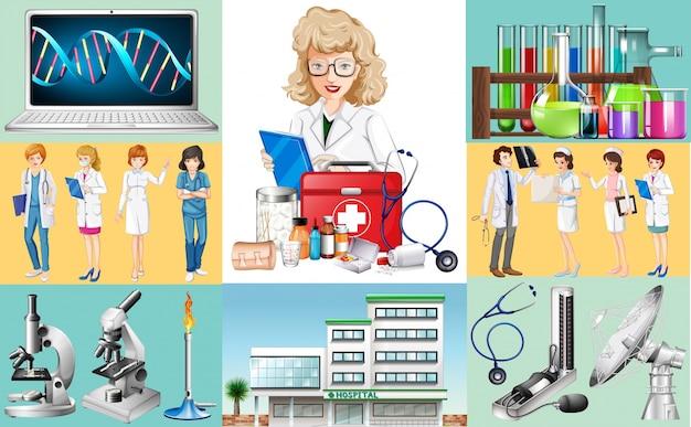 Ärzte und krankenschwestern arbeiten im krankenhaus Premium Vektoren