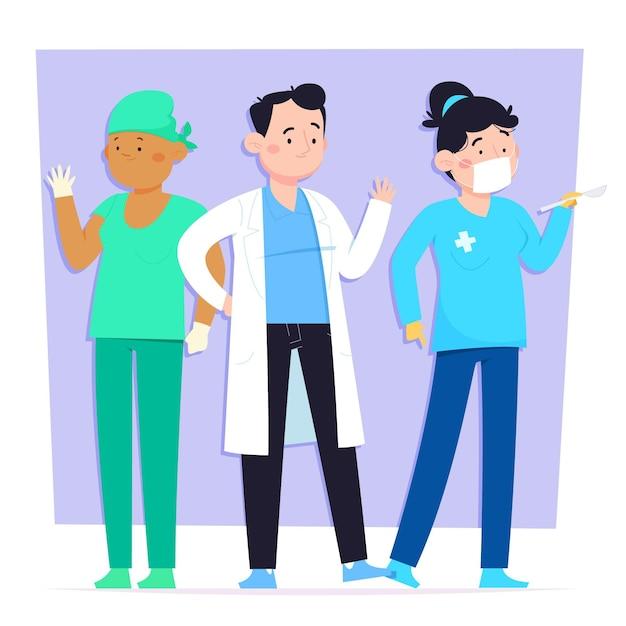 Ärzte und krankenschwestern im cartoon-stil Kostenlosen Vektoren