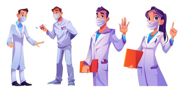Ärzte und krankenschwestern in gesichtsmasken Kostenlosen Vektoren