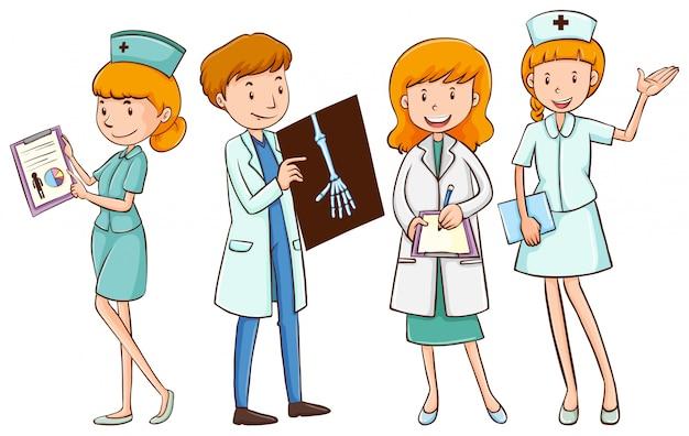 Ärzte und krankenschwestern mit patientenakten Kostenlosen Vektoren