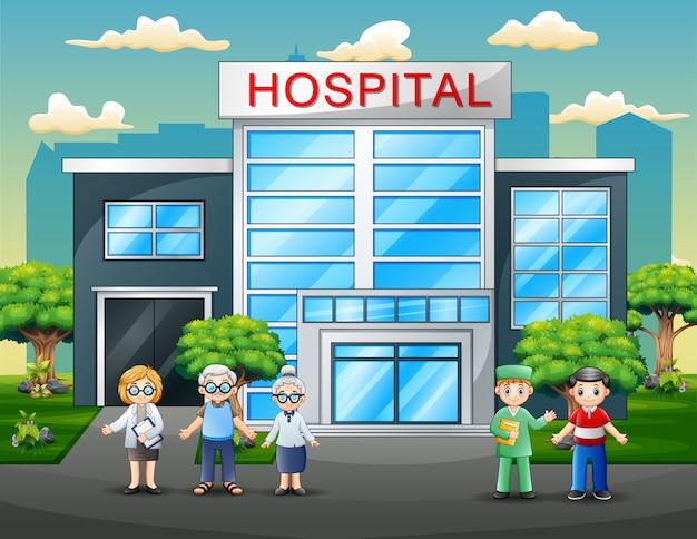 Ärzte und patienten cartoon vor dem krankenhaus Premium Vektoren