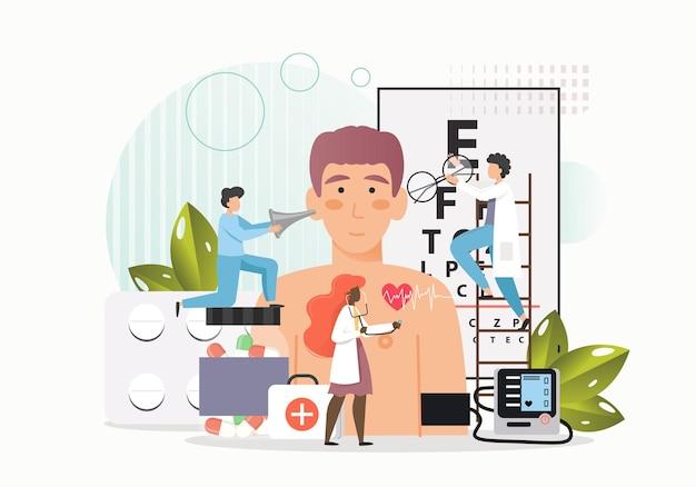 Ärzte, winzige männliche und weibliche charaktere, die das sehvermögen, die herz- und ohrengesundheit des patienten untersuchen Premium Vektoren
