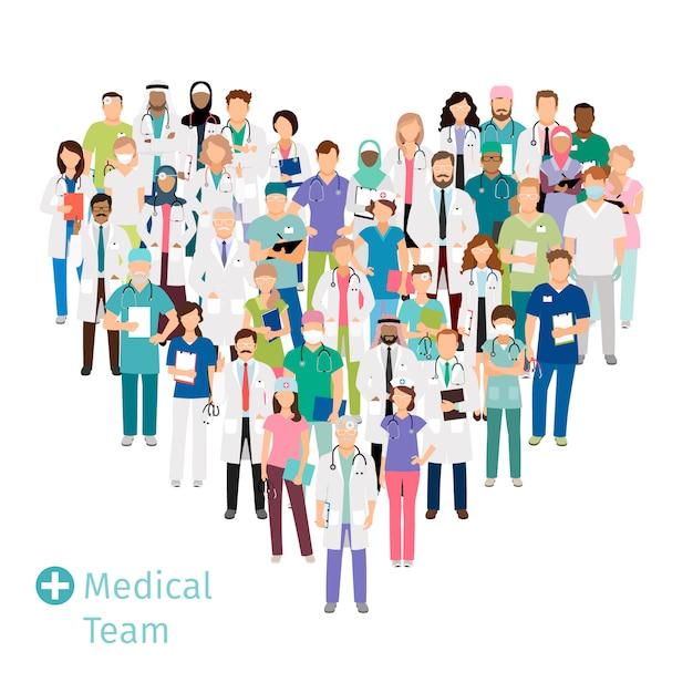 Ärzteteam im gesundheitswesen in form von herzen. krankenhauspersonal gesundheitsexperten gruppe in uniform für ihre konzepte. vektor-illustration Premium Vektoren