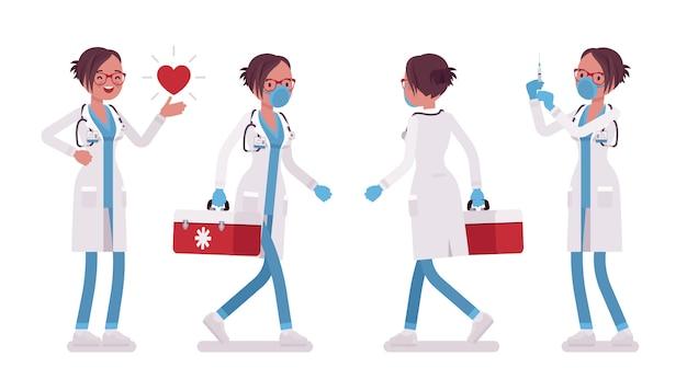 Ärztin arbeitet. frau in der krankenhausuniform mit roter box beim üben, die injektion tut. medizin, gesundheitskonzept. stil cartoon illustration, weißer hintergrund, vorne, hinten Premium Vektoren
