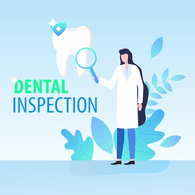 Ärztin dentist mit lupen-zahnmedizinischer inspektions-vektor-illustration Premium Vektoren