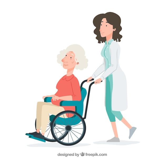 Ärztin, die ältere frau im rollstuhl drückt Kostenlosen Vektoren