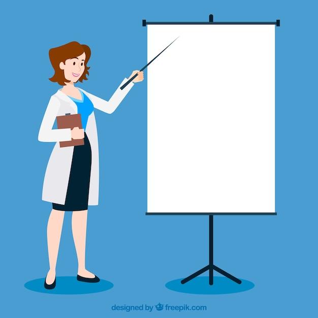 Ärztin, die auf whiteboard zeigt Kostenlosen Vektoren