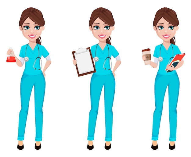 Ärztin frau. medizin, gesundheitskonzept Premium Vektoren