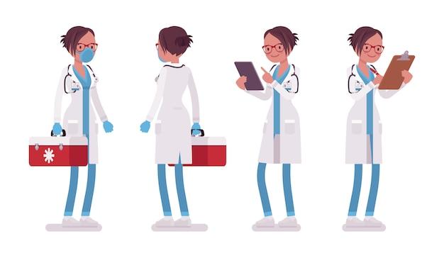 Ärztin stehende pose. frau in der krankenhausuniform mit krankenschwesterbox, akten. medizin- und gesundheitskonzept. stilkarikaturillustration auf weißem hintergrund, vorderansicht, rückansicht Premium Vektoren