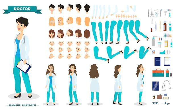 Ärztin zeichensatz für die animation mit verschiedenen ansichten, frisur, emotion, pose und geste. medizinische ausrüstung. krankenhausangestellter in uniform. isolierte vektorillustration im karikaturstil Premium Vektoren