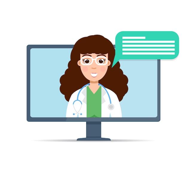 Ärztliche beratung online, internet-gesundheitsdienst. illustration. Premium Vektoren
