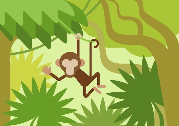 Affe auf dem bergsteigerbaumast, flache karikatur des dschungels Kostenlosen Vektoren