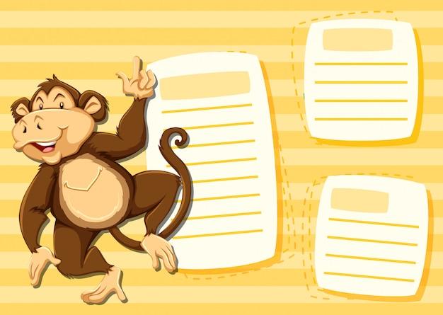 Affe auf notizvorlage Kostenlosen Vektoren