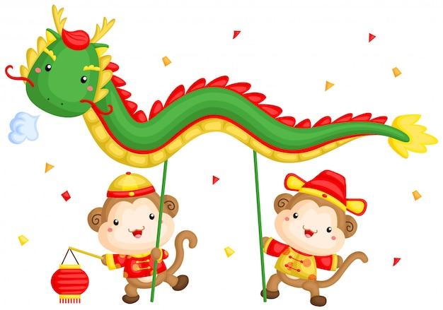 Affe chinesischer drachentanz Premium Vektoren
