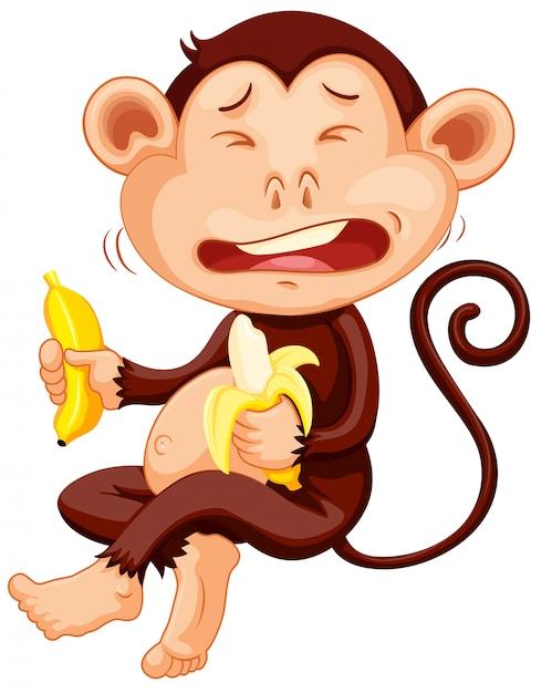 Affe hält bananenschreien Kostenlosen Vektoren