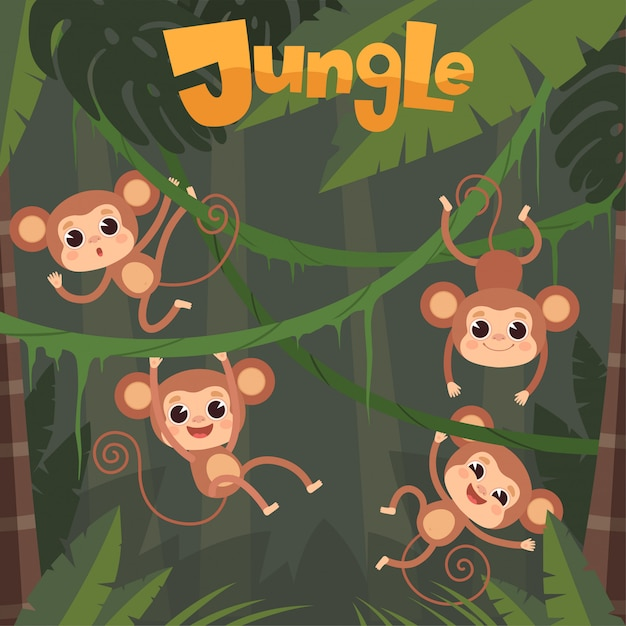 Affe spielt. kleine wilde tiere, die banane auf dschungelbaumschimpansenkarikaturhintergrund sitzen und essen Premium Vektoren