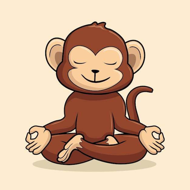 Affe yoga posea cartoona tier schimpanse Premium Vektoren