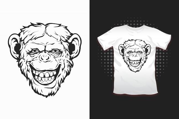 Affendruck für t-shirt Premium Vektoren