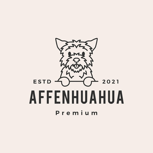 Affenhuahua hund hipster vintage logo Premium Vektoren