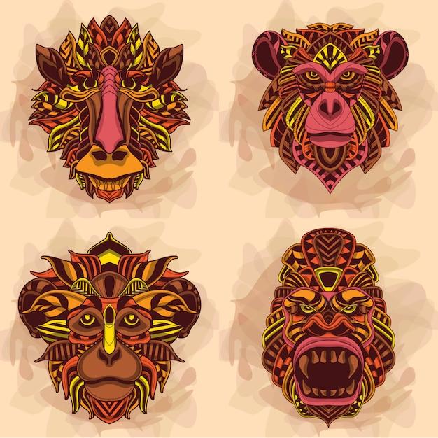 Affenkopf-kollektion in warmen farben Premium Vektoren
