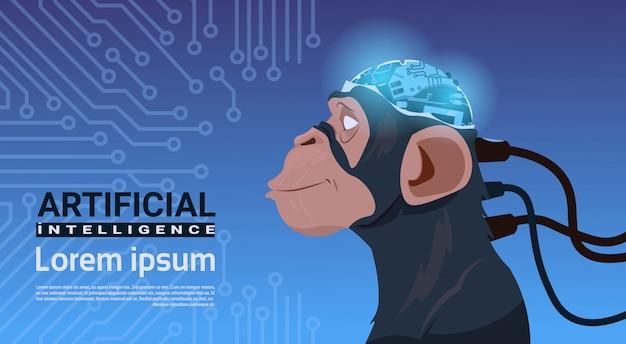 Affenkopf mit modernem cyborg-gehirn über stromkreis-motherboard-hintergrund-künstlicher intelligenz Premium Vektoren