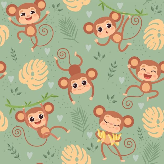 Affenmuster. schimpansen der wilden kleinen tiere, die auf nahtlosem karikaturhintergrund des dschungelbaumtextildesignprojekts spielen Premium Vektoren