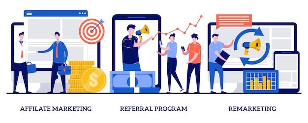 Affiliate-marketing, empfehlungsprogramm, remarketing-konzept mit kleinen leuten. internet-promotion-strategie-vektor-illustrationssatz. online-verkaufsmanagement, gezielte werbung, loyalität. Premium Vektoren