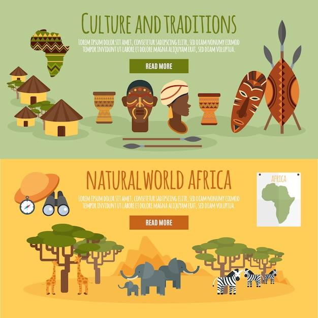 Afrika 2 flache banner eingestellt Kostenlosen Vektoren