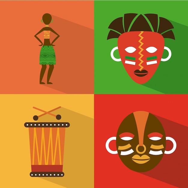 Afrika-design über bunter hintergrundvektorillustration Premium Vektoren