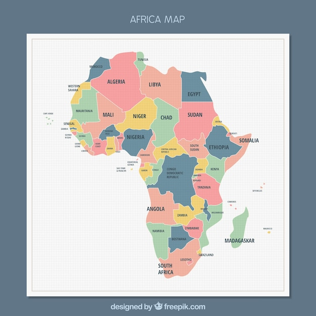 Afrika-kartenhintergrund in der flachen art Kostenlosen Vektoren