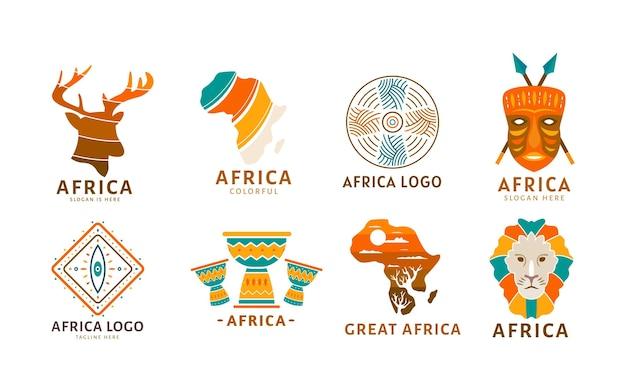 Afrika-logo-sammlung Premium Vektoren