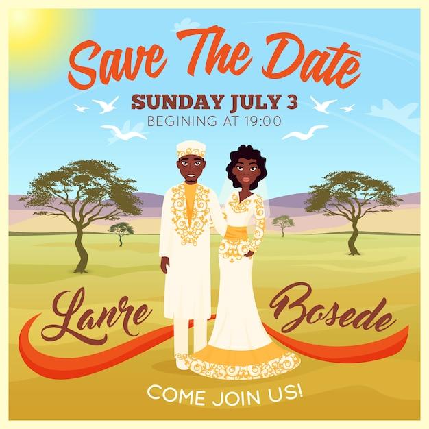 Afrikaner, die paar-plakat wedding sind Kostenlosen Vektoren