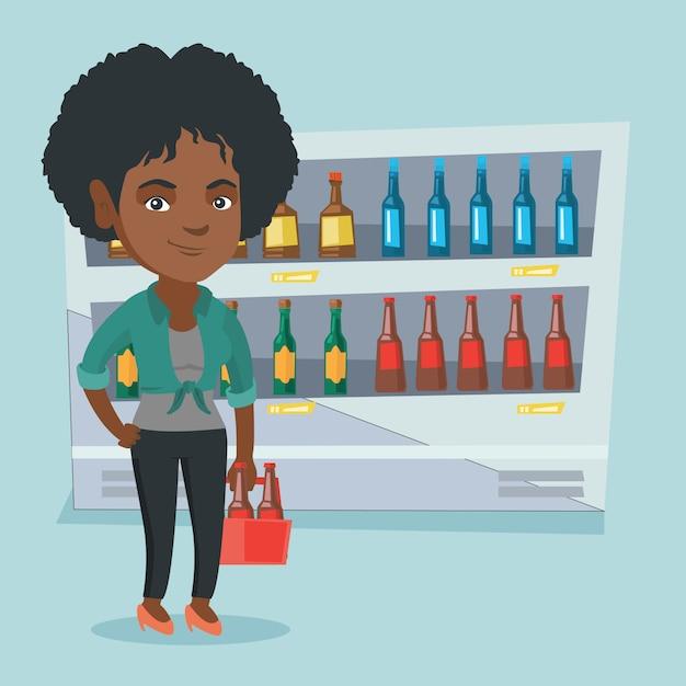 Afrikanerin mit satz bier am supermarkt. Premium Vektoren