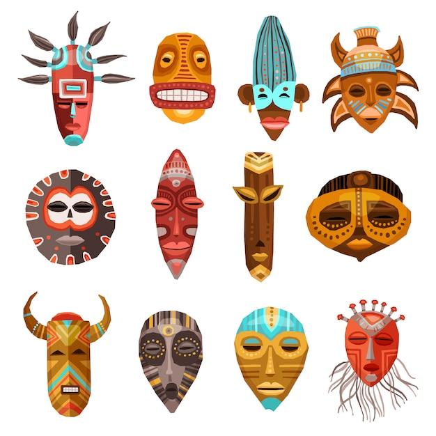 Afrikanische ethnische stammesmasken eingestellt Kostenlosen Vektoren