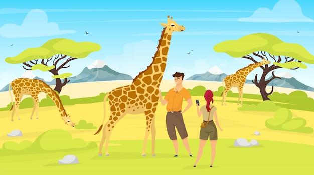 Afrikanische expeditionsillustration. giraffen in der savanne. frauen- und männertouristen beobachten südliche kreaturen. grünes savannenfeld mit bäumen. zeichentrickfiguren von tieren und menschen Premium Vektoren