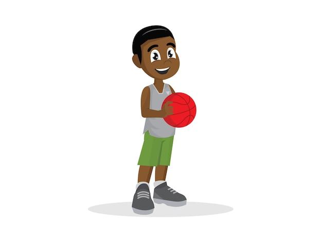 Afrikanische jungen, die basketball spielen. Premium Vektoren