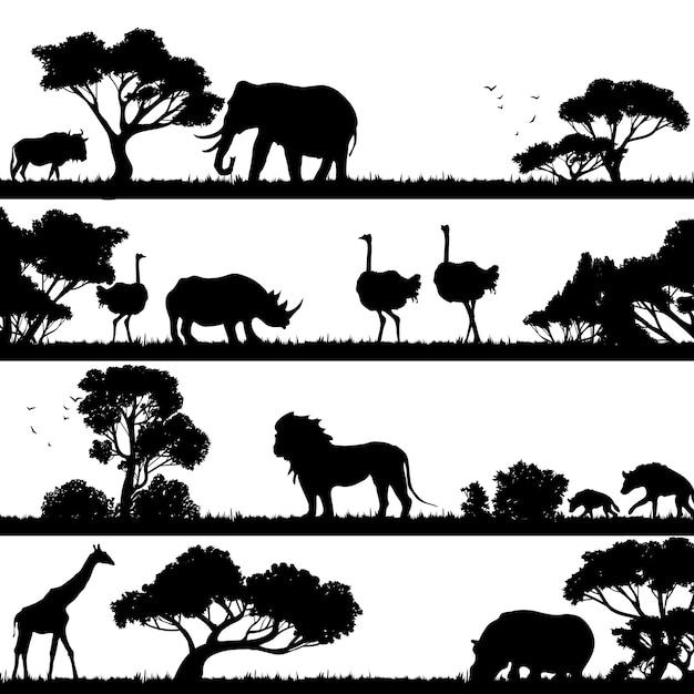 Afrikanische landschaft silhouette Kostenlosen Vektoren