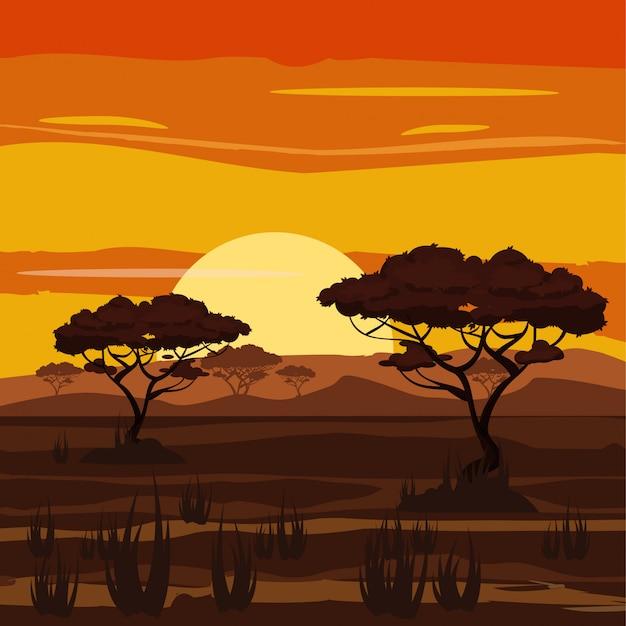 Afrikanische landschaft, sonnenuntergang, savanne, natur, bäume, wildnis, karikaturart, vektorillustration Premium Vektoren
