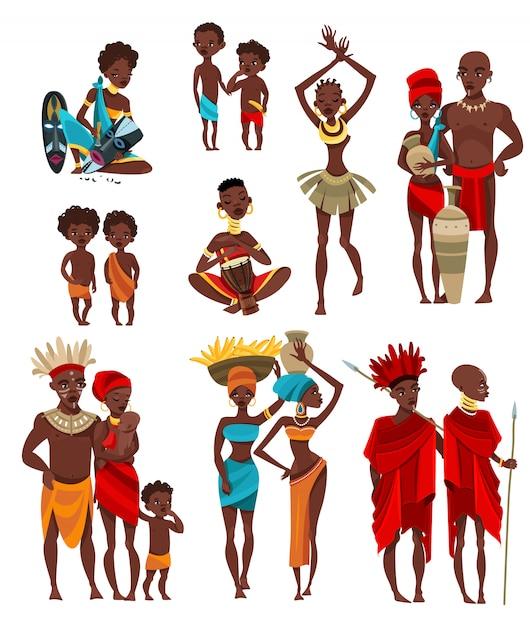 Afrikanische leute-kleidungs-flache ikonen-sammlung Kostenlosen Vektoren