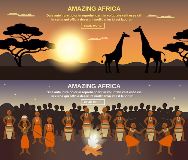 Afrikanische menschen banner set Kostenlosen Vektoren