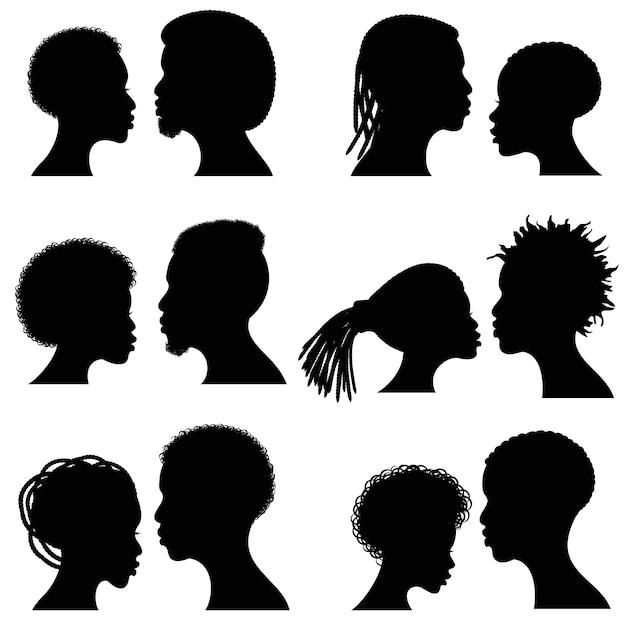 Afrikanische weibliche und männliche gesichtsvektorschattenbilder Premium Vektoren
