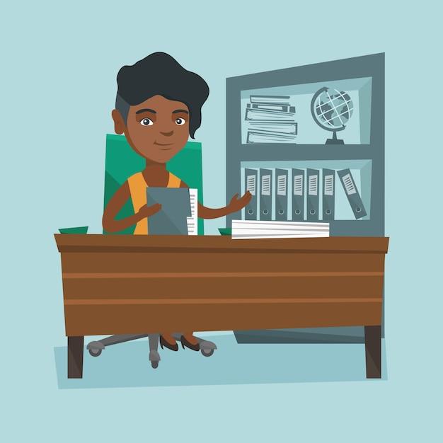 Afrikanischer büroangestellter, der mit dokumenten arbeitet. Premium Vektoren