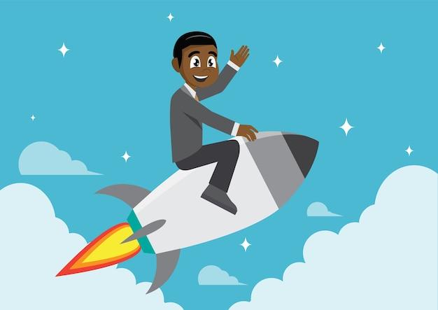 Afrikanischer geschäftsmann auf einer rakete. Premium Vektoren