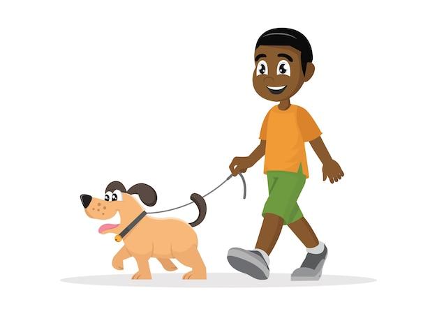Afrikanischer junge, der mit hund geht. Premium Vektoren
